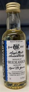 Bruichladdich 19yo, 51,2%. Cadenheads Authentic Collection Mini Bottle. 5cl.